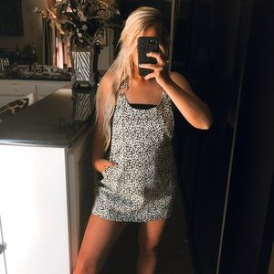 Black and white leopard print overall dress